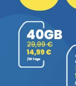Lycamobile - Für 12 Wochen - allnet-/sms-flat / Internet 40GB = 14,99€ statt 29,99€/Monat