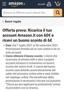 Amazon.it 6 Euro zusätzlich beim Aufladen von 60 Euro Guthaben