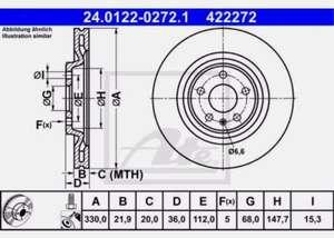 ATE 2x Bremsscheiben belüftet beschichtet