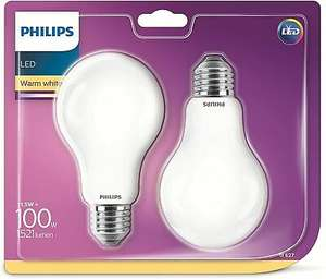 4er Pack Philips LED-Leuchtmittel E27 Glas, Warmweiß, 13W = 100W