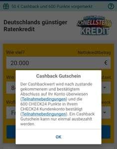 Check24 App Kredit nehmen & 50€ Cashback erhalten, z.B. 1000€ für eff. 947,80€ (evtl. personalisiert)