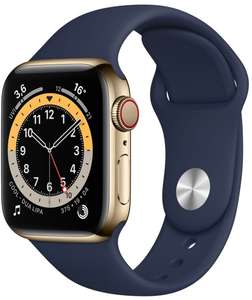Apple Watch Series 6 GPS Cellular Gold EDELSTAHL 44mm Sportarmband dunkelmarine für 548,43€ inkl. Versandkosten mit Amazon Pay