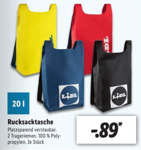 Lidl Rucksacktasche 20 Liter faltbar in Gelb, Blau, Rot und Schwarz für je 0,89€