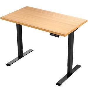 Elektrisch höhenverstellbarer Schreibtisch mit 140x80 cm Buche Tischplatte und 2 Motoren für 339,15€
