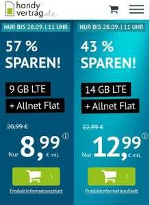 9GB LTE (50 Mbit/s) Tarif für mtl. 8,99€ von handyvertrag.de mit Allnet- & SMS-Flat (mtl. kündbar / 24 Monate; Telefonica-Netz)