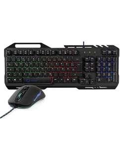 ohmtronixx Gaming Set, Tastatur (QWERTZ-Tastatur) aus Metall mit Telefonhalter und RGB Beleuchtung sowie Maus mit 7 Tasten