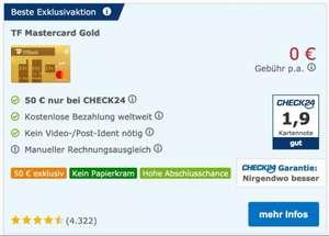 check24, 50€ Bonus bei Abschluss Advanzia MasterCard Gold (Neukunden ohne Werber))
