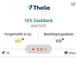 [iGraal] 16% Cashback bei Thalia auf nicht preisgebundene Bücher und Bestellungen ohne Bücher (nur heute)