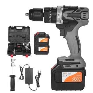 21V Akku-Bohrschrauber inkl. Akku, Ladegerät + Werkzeugkasten
