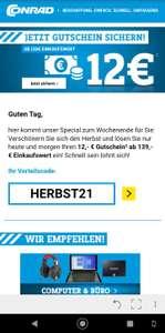 12€ Rabatt bei Conrad ab 139€ Einkaufswert (online und Filiale möglich)