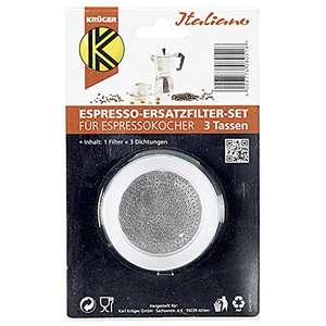 1 Filter und 3 Dichtringe für Espressokocher, Größe: 3 Tassen, Karl Krüger