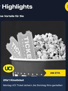 Vattenfall Kunden - UCI Kino - 2 Tickets zum Preis von 1 Ticket