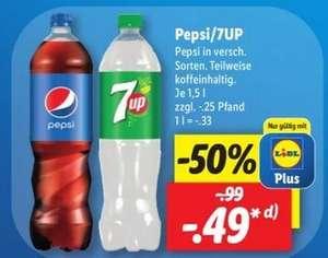 [Lidl] Pepsi Cola / 7Up - verschiedene Sorten - 1,5l je 0,49€ (1l = 0,33€) mit Lidl Plus App