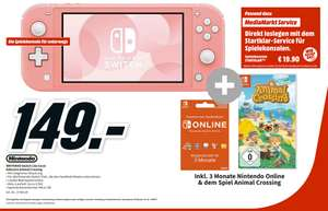 [Lokal Mediamarkt Zella-Mehlis] Nintendo Switch Lite koralle inkl. Animal Crossing: New Horizons + 3 Monate Nintendo Online für 149,-€