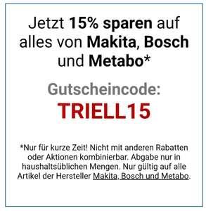 Bei svh24 erhaltet ihr 15% Rabatt auf alles von Makita, Bosch und Metabo?