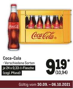 [METRO] Coca Cola Kasten 24 x 0,33l als Glasflaschen für 10,94€ (verschiedene Sorten)