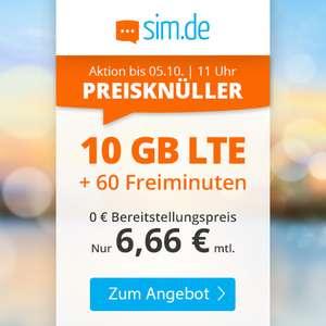 Drillisch KW39 Angebot: 10 GB LTE sim.de Tarif + 60 Freiminuten für mtl. 6,66€ (Telefonica-Netz, ohne Vertragslaufzeit, VoLTE, WLAN Call)