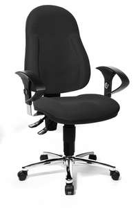 [staples.de] Bürostuhl /Drehstuhl Topstar Wellpoint de luxe, schwarz, höhenverstellbar mit Armlehnen [+ 1000 Blatt Kopierpapier]