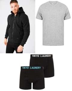 [Tokyo Laundry] Bundle aus Zip Hoodie, T-Shirt und 2 Unterhosen (jeweils in den Größen M bis XXL + verschiedene Farben)