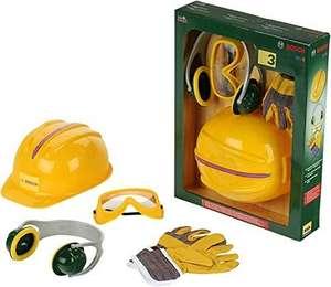 Theo Klein 8537 Bosch Bauarbeiter Zubehör-Set [Arbeitshandschuhe, Brille, Ohrenschützer und Helm, für Kinder ab 3 Jahren] [Prime]