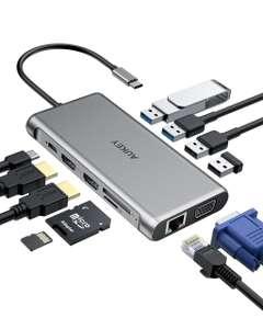 AUKEY CB-C78 12 in 1 USB C Hub with Gigabit Ethernet, Dual 4K HDMI, VGA Silver