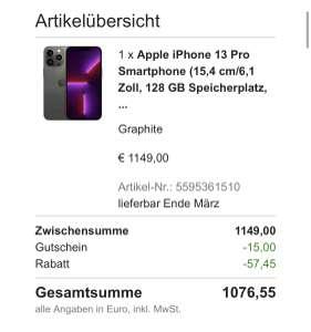 iPhone 13 Pro 128 GB lange Lieferzeit. Bestpreis möglich (Neukunden)