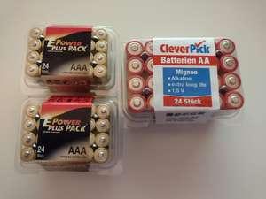 Online zur Abholung im Markt 24er-Pack AA Mignon-Batterien für 0,99€! Im Markt ausserdem 24 AAA Batterien für 0,99€!
