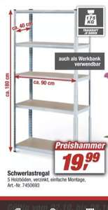 [Toom] Schwerlastregal 90 x 180 x 40 cm - 5 Holzböden à 175kg für 19.99€