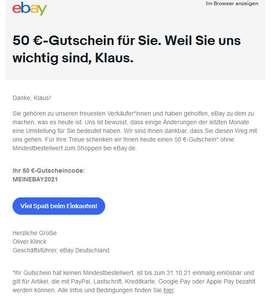 ebay (personalisiert): 50€ Gutschein ohne MBW!