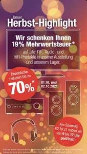 Beckhoff Technik & Design 19% Mehrwertsteuer geschenkt, [Lokal 33415 Verl] Bose, Loewe, Samsung, Panasonic, Sony, Yamaha, LG u.v.m