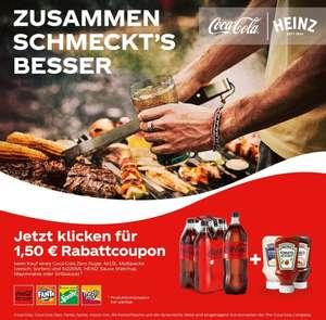 [couponplatz] 1,50 Rabatt auf Coca Cola Zero Sugar 4x1,5l Pack kombiniert mit einer Heinz Sauce