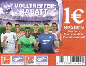 1€ Coupon für den Kauf von Milka Produkten im Wert von mind. 5€ [04.10.-31.12.2021]
