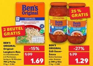 [KAUFLAND ab 07.10.21] 2x Ben's Original Süß-Sauer-Sauce +25% für 2,58€ + 2€ Cashback für Gemüse nach Wahl