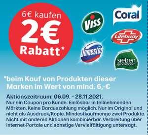 2,00€ ab 6,00€ Coupon für den Kauf von Coral, Domestos, Lifebuoy, Sieben Generationen und Viss Produkten bis 28.11.2021