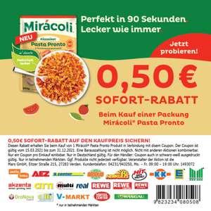 0,50€ Coupon für Miracoli Pasta Pronto in PDF zum Ausdrucken bis 31.12.2021 & 1+1 Aktion