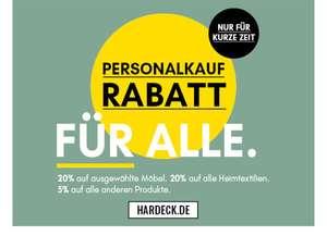 Personalrabatt bei Hardeck - 20% auf ausgewählte Artikel, 20% auf Heimtextilien und 5% auf alle anderen Produkte