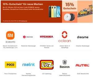 15% Rabatt bei ebay auf Xiaomi, Roborock, Mouldking, oclean, dreame, Poco, reolink, LOZ, Anker, Amazfit (max. 50€) zB Roborock S7 ab 469,-
