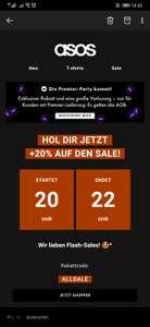 20% auf Sale bei ASOS (20:00 - 22:00)