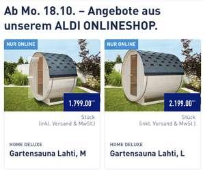 Fasssauna Home Deluxe Lathi M(1799€)/L(2199€) im Aldi Onlineshop