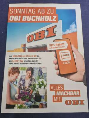 [LOKAL] OBI Buchholz (Nordheide) 10% Rabatt mit heyObi APP