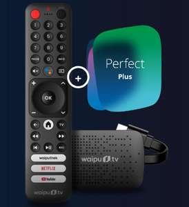 12 Monate waipu.tv Perfect Plus mit waipu.tv 4K Stick | neuer Streaming-Stick mit Fernbedienung für Live-TV/Netflix und Co.