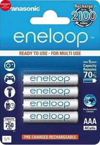 [Otto Up + Amazon Prime] Panasonic »Eneloop Micro AAA HR03« wiederaufladbare Batterien, (4 St)
