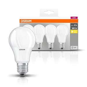 Osram LED Base Classic A Lampe, in Kolbenform mit E27-Sockel, nicht dimmbar, Ersetzt 60 Watt, Matt, Warmweiß, 4er Pack - Prime