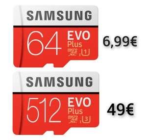 Samsung EVO Plus microSDXC 64GB Kit R100/W20, UHS-I U1 für 6,99€ / 512GB R100/W90 UHS-I U3 für 49€