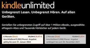 Kindle Unlimited - Auch für Prime Kunden und Wiederholungstäter (Auswahl variiert) 2 Monate kostenlos oder 6 Monate zum halben Preis