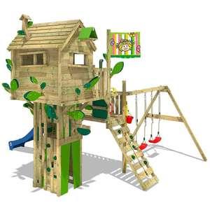 WICKEY-Sammeldeal, z.B. Spielturm Wickey Smart Treetop, 4 versch. Rutschen, 2 versch. Fahnen, Podesthöhe 210/150 cm [Wickey]