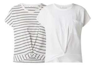 [Peek&Cloppenburg] Mango Shirt aus Baumwolle in schwarz/weiß gestreift oder in weiß (nur Gr. S)