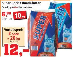 20KG Sack Hundefutter Croc Ringe oder Flockenfutter im Thomas Philipps für 12 Euro