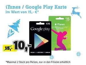 [24.12] - 15€ GooglePlay für 10€ und 15€ iTunes für 10€ bei Conrad in der Filiale