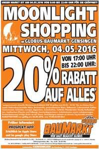 20% AUF ALLES bei GLOBUS BAUMARKT in Gensingen